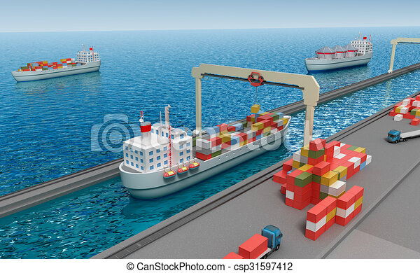 Crane lifting cargo container and loading the ship - csp31597412