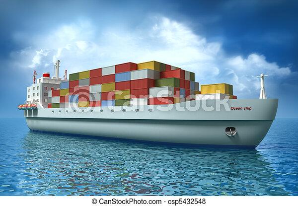Crane lifting cargo container - csp5432548