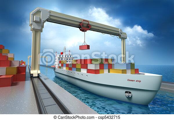 Crane lifting cargo container - csp5432715