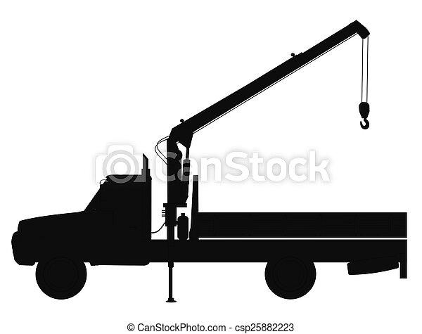 Crane Truck Silhouette Stock Photo