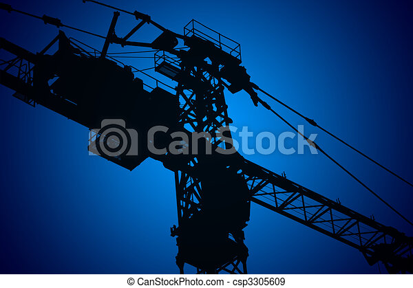 Crane,construction tower, illustration with vivid colors - csp3305609