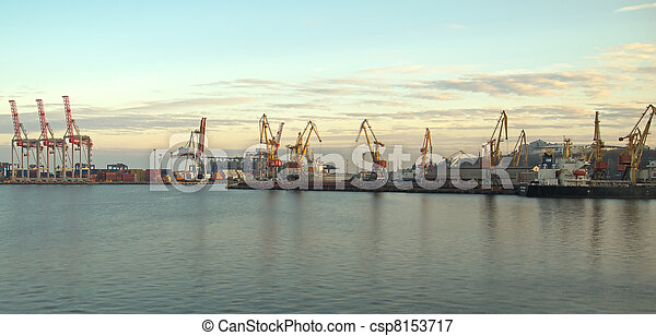 Cranes and containers at a port - csp8153717