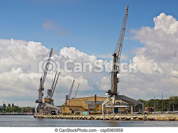 Cranes in harbour - csp5060959