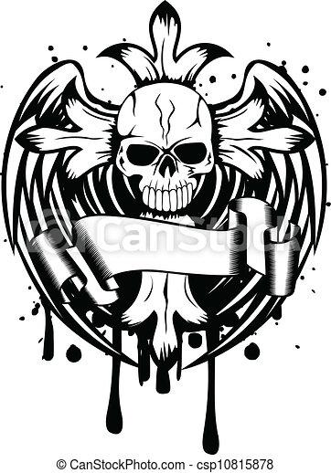 cranio, ali, croce - csp10815878