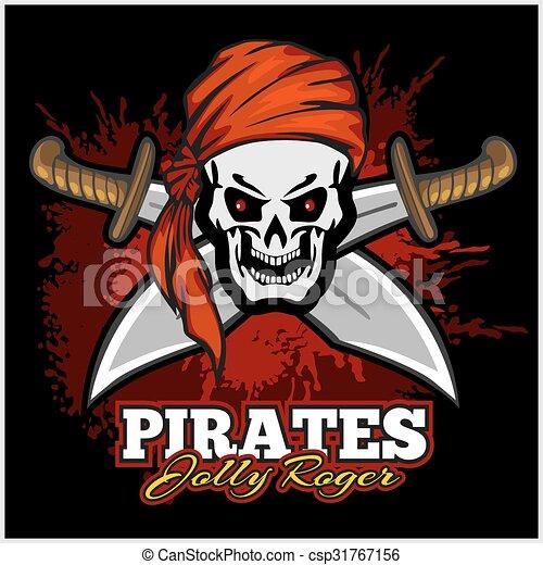 cranio, espadas, crucifixos, headband, pirata, vermelho - csp31767156