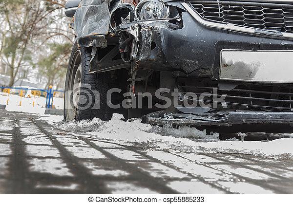 Crash a broken car in winter on the road under the snow. - csp55885233