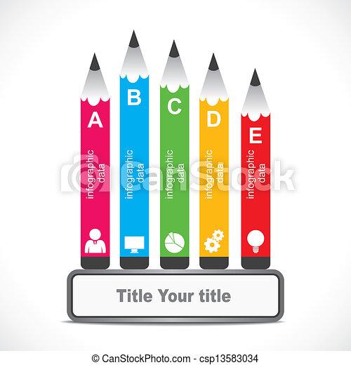 crative educational infographic creative colorful pencil design