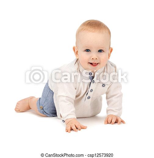 crawling baby boy - csp12573920