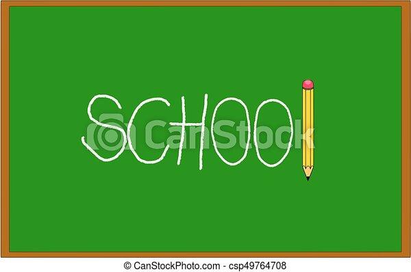 crayon, école, tableau noir, il, craie, écrit, vert - csp49764708