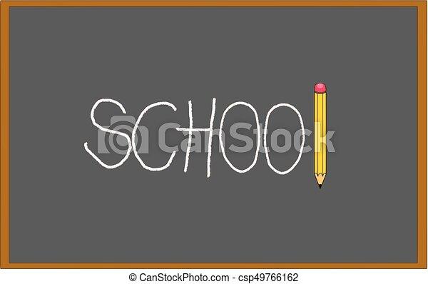 crayon, école, tableau noir, il, craie, écrit, noir - csp49766162