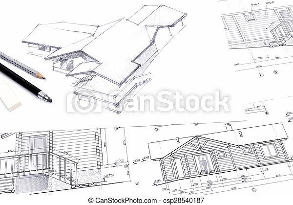 crayon, croquis, architecte, dessin