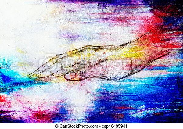 Crayon croquis main effect vendange papier dessin - Main dessin crayon ...