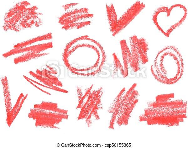 crayon dry brush lipstick rough strokes doodles set vector