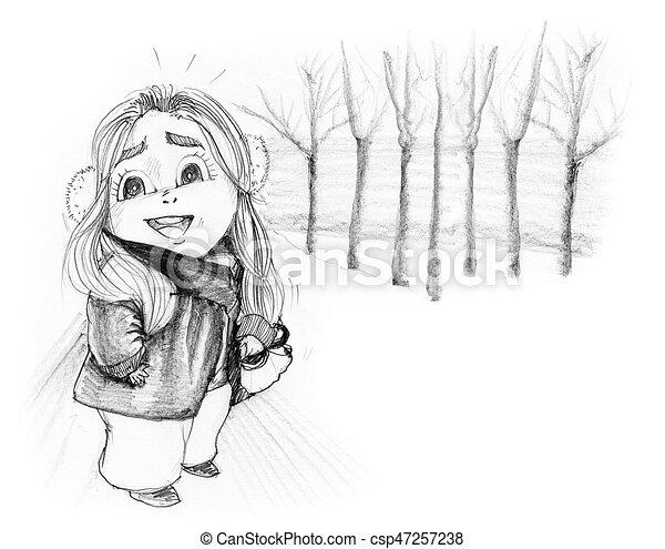 Crayon Hiver Neige Joli Dessiné Girl A Dessin Animé
