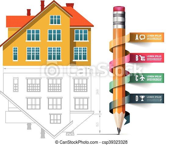 crayon, icône, dessin, maison - csp39323328