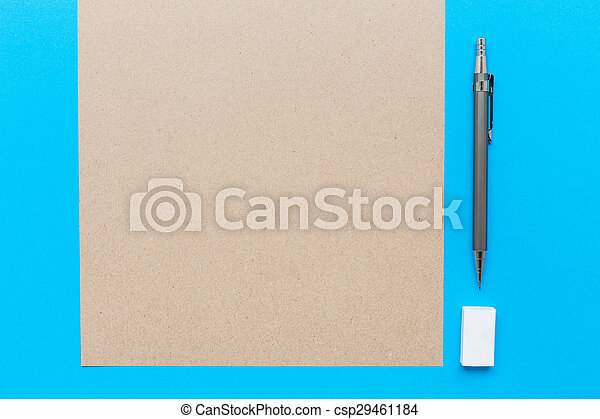 crayon, note, salle, lotissements, texte, image, ton, caoutchouc, bois, livre, bureau, blanc, ou, régulier - csp29461184