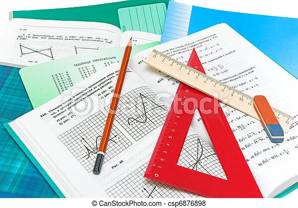 crayon, règle, mathématiques, closeup, fond, manuel, cahier, blanc - csp6876898