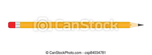 crayon rouge, bande, caoutchouc, écrire, icône - csp84034781