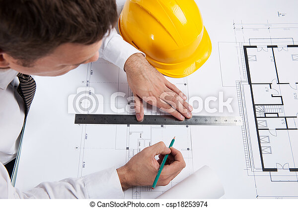 crayon, séance, règle, construction, architecte, professionnel, plan., table, dessin, homme - csp18253974
