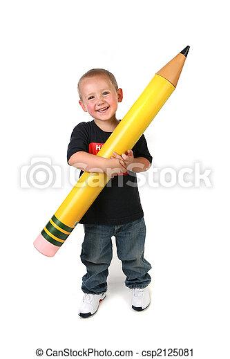 crayon, schoolage, grand, enfant avoirs, enfantqui commence à marcher - csp2125081
