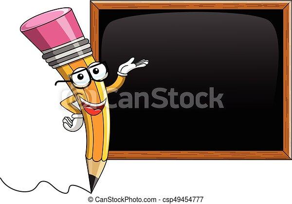 crayon tableau noir projection isol vide dessin anim mascotte crayon tableau noir. Black Bedroom Furniture Sets. Home Design Ideas