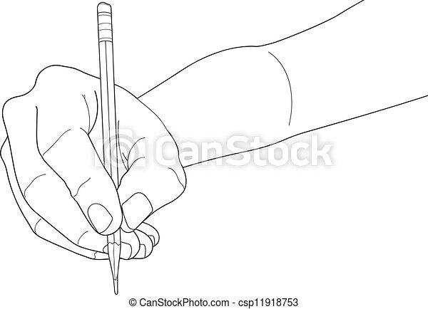 Crayon tenant main sur isol stylo papier fond - Main dessin crayon ...