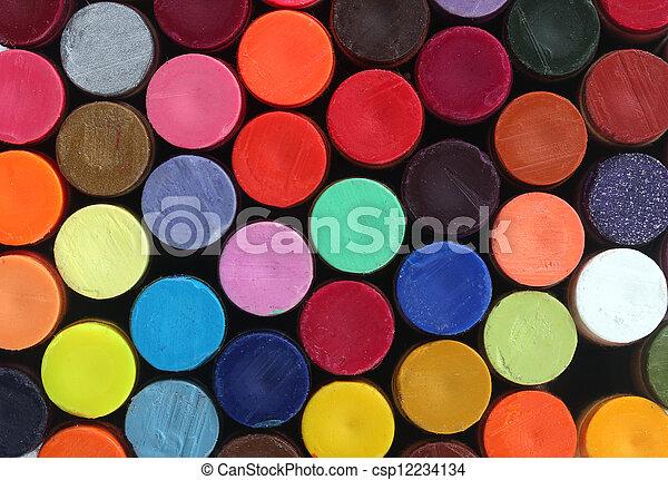 crayons, école, rangées, art, vif, coloré, clair, leur, couleurs, crayon, cire, arrangé, exposer, colonnes - csp12234134