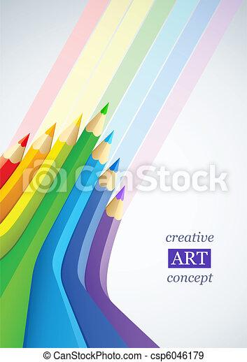 crayons, art abstrait, couleur, fond - csp6046179