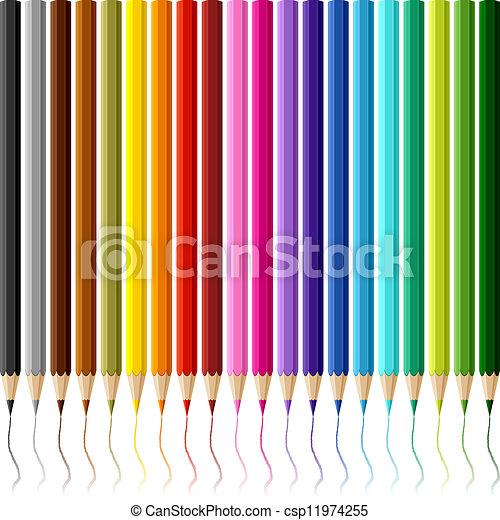 crayons, blanc, coloré, collection, arrière-plan. - csp11974255