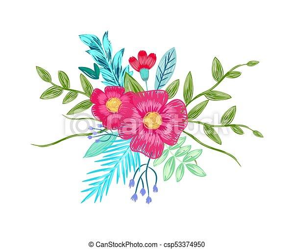 Crayons Bouquet Fleur Couleur Vecteur Dessin