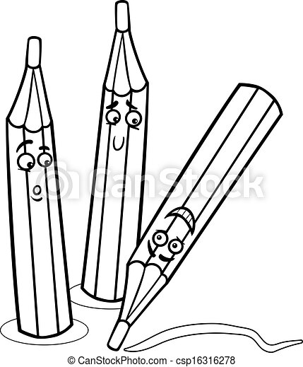 crayons cartoon illustration coloring page - csp16316278