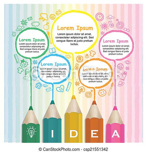 crayons, coloré, créatif, infographic, gabarit, dessin ligne - csp21551342