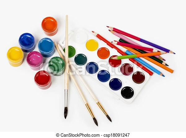 Crayons Couleur Peinture Gouache Crayons Gouache Couleur Peinture Fond Blanc Canstock