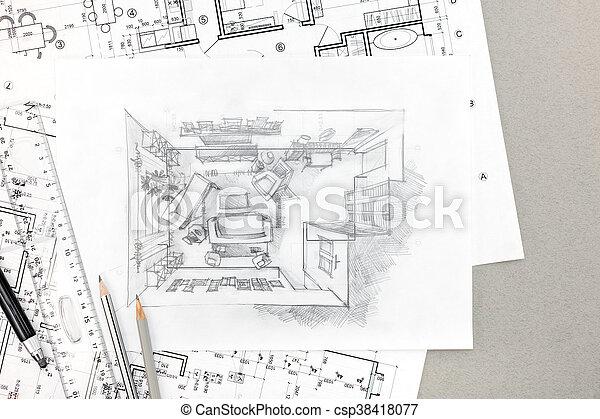 crayons, croquis, modèles, main, intérieur, maison, dessin