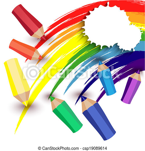 crayons draw a rainbow colored pencils and a rainbow on a white
