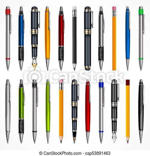 crayons, ensemble, stylos - csp53891463