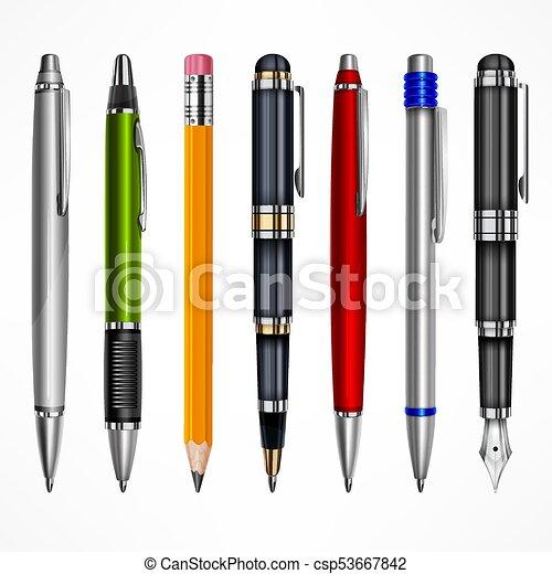 crayons, ensemble, stylos - csp53667842