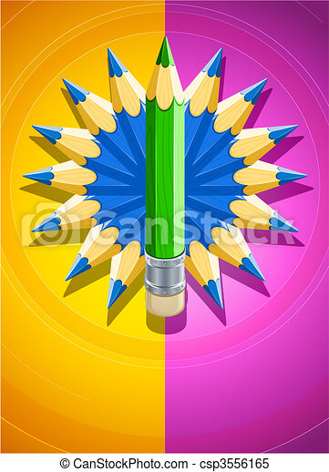 crayons, fait, coloré, conception, fond, cercle - csp3556165