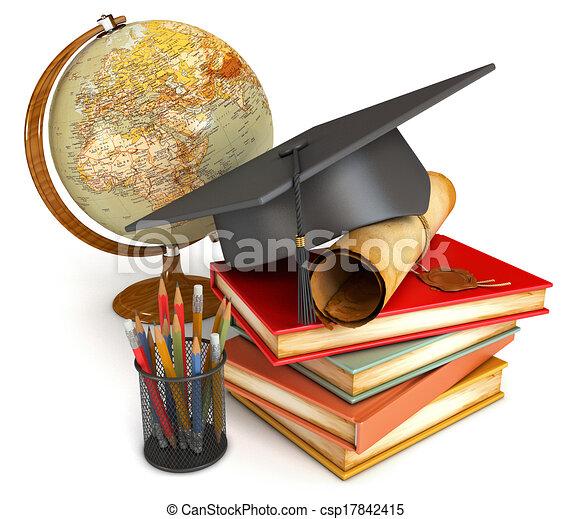 crayons, illustration., cup., globe, livres, couleur, isolé, remise de diplomes, pile, casquette, arrière-plan., render, divers, conceptuel, blanc, diplôme, 3d - csp17842415