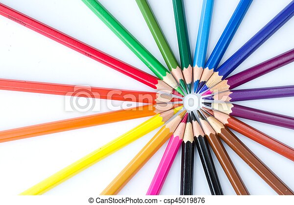 crayons in the shape of a circle - csp45019876