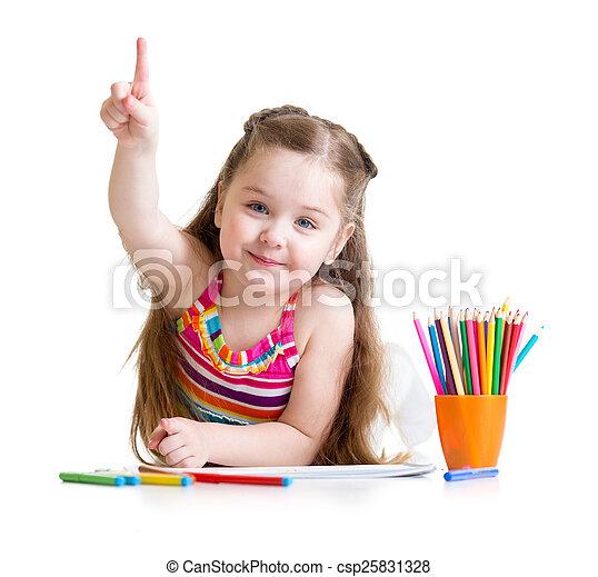 crayons, petite fille, dessin, préscolaire, heureux - csp25831328