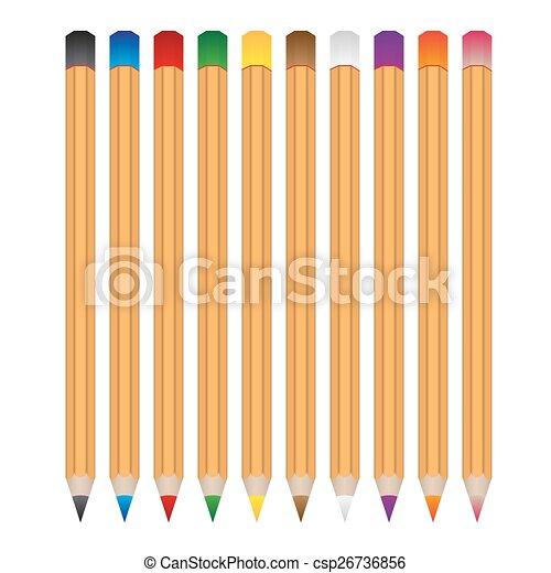 crayons, set, eps10, kleur, houten, vector, gevarieerd - csp26736856