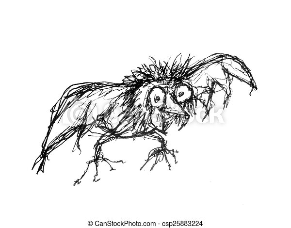 Crazy Bird Sketch Raster Illustration - csp25883224