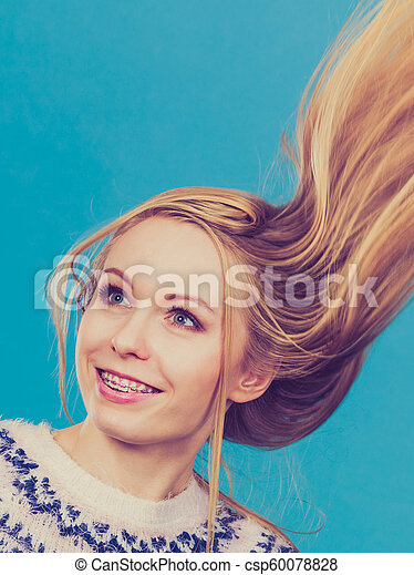Crazy Blonde Woman With Windblown Blonde Hair Hairstyles Ideas Happiness Concept Crazy Teenage Woman Wearing Winter Jumper Canstock