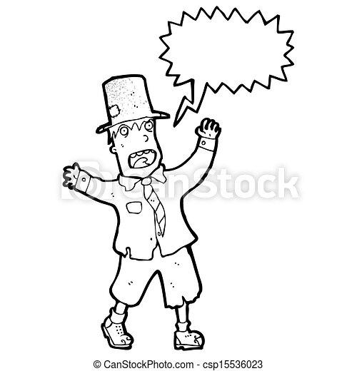 crazy cartoon tramp - csp15536023