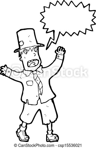 crazy cartoon tramp - csp15536021