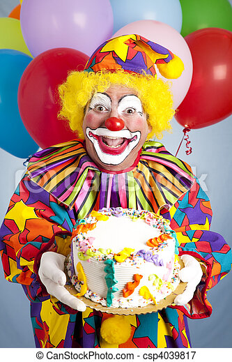 Crazy Clown with Birthday Cake - csp4039817