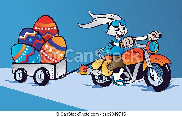 Crazy Easter Bunny cartoon in motorbike - csp9049715