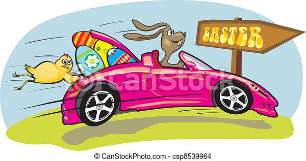 crazy easter bunny - csp8539964