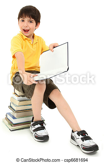 Crazy Faces School Boy Child with Books - csp6681694